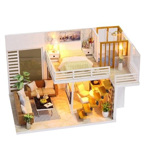 DIYミニチュアドールハウス、家具とLEDライト付き3D木製ドールハウス