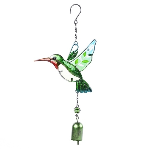 Glass Wind Chime Bird Dragonfly Shaped Hanging Ornament Multi-Tube Wind Chimes