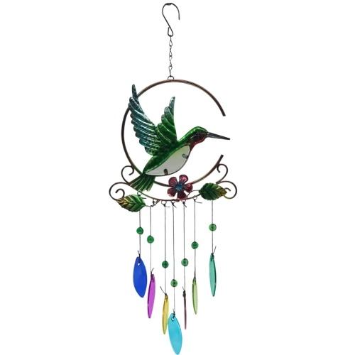 Adorno colgante con forma de pájaro de carillón de viento de vidrio