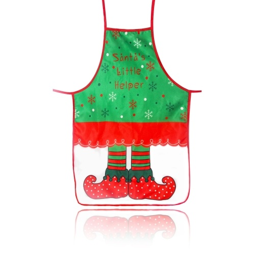 Delantal de cocina de Navidad Delantal lindo con patrón de duende de Santa Claus