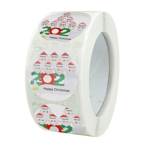 1 rollo / 500 piezas de pegatinas navideñas autoadhesivas para vacaciones