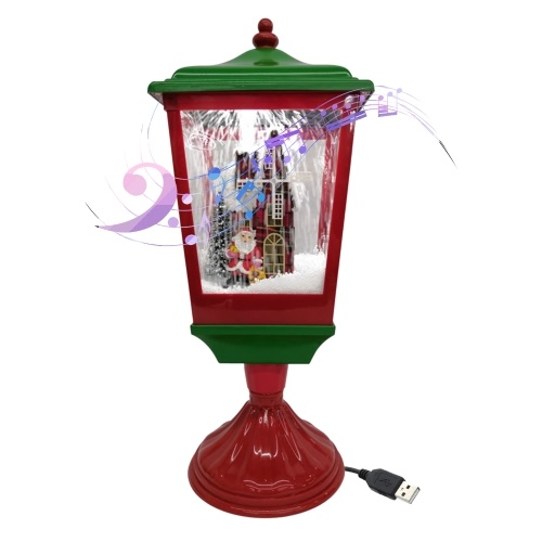 Linterna de nieve musical de Navidad USB y enchufe LED Lámpara de luces de hadas