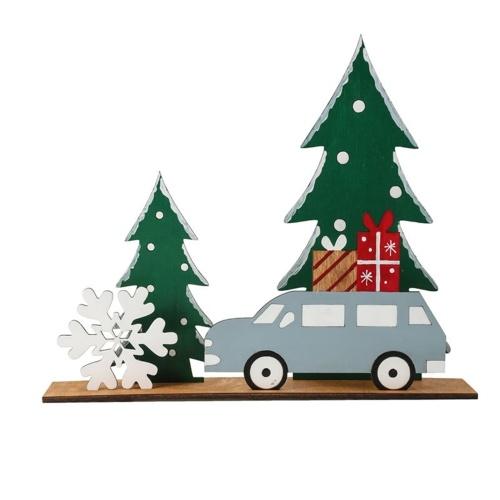 Adorno en forma de coche de árbol de escritorio de decoración de mesa de Navidad