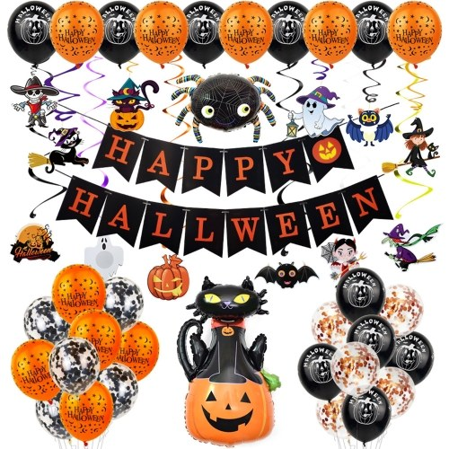 Halloween Balloon Decorations Set Hanging Happy Halloween Banner