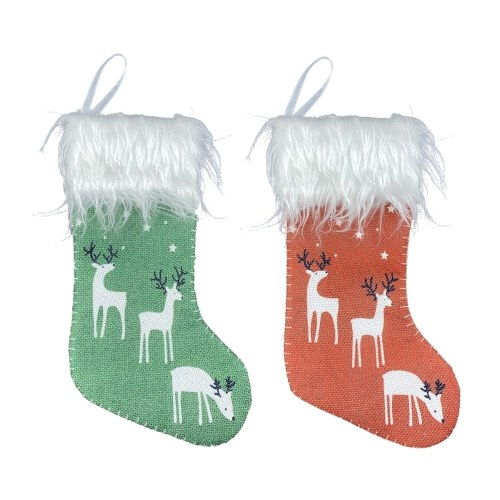 Small Christmas Stocking 2 Pcs Xmas Stocking Christmas Tree Ornaments Decorations 6'' Reindeer