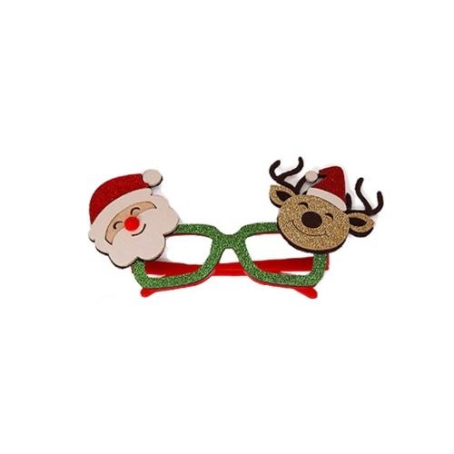 Óculos de festa de Natal com brilho e decoração de Natal (Papai Noel e renas)