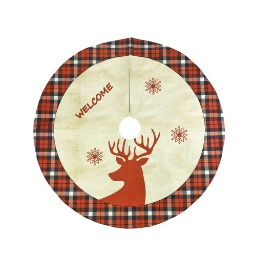 117CM Falda de árbol de Navidad Patrón de ciervo Estera de árbol de Navidad