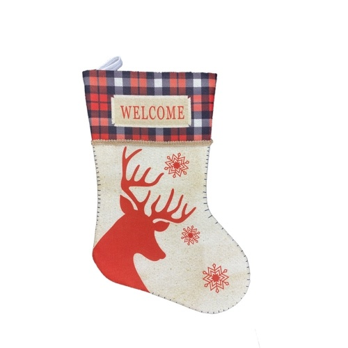 Christmas Stockings Xmas Stockings Burlap Plaid Style