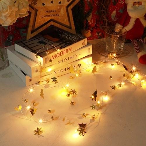 Cadena de luces LED navideñas con pilas 6.6 pies 20 LED luz blanca cálida