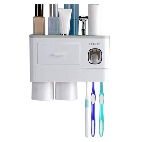 Estante para cepillos de dientes con dispensador de pasta de dientes Exprimidor Cajón de taza de cepillo de dientes magnético
