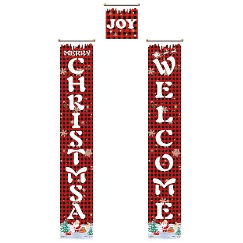 Banners de Feliz Natal Porta da Frente de Tamanho Grande Sinal de Feliz Natal na Varanda Banners suspensos em vermelho