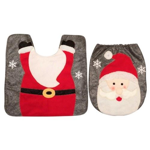 Weihnachten Santa Snowman Deer Toilettensitzbezug Teppich Set