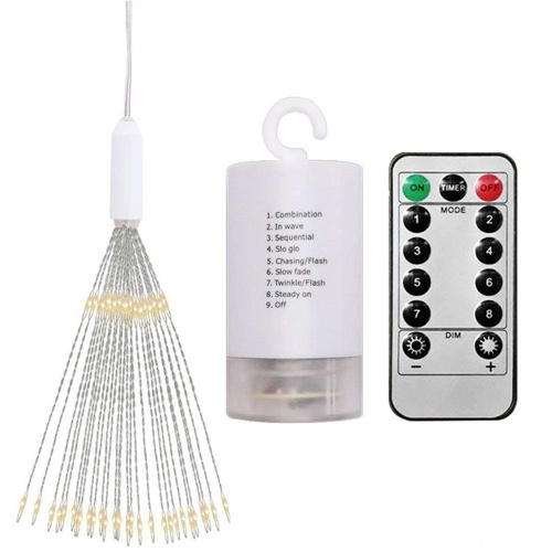 200 LEDs Firework Lights Hanging Decorative Light Christmas Remote Control Battery Operated 8 Light Modes Warm White Indoor & Outdoor Starburst LED Lights for Bedroom Parties Wedding Street Yard Showcase Mall