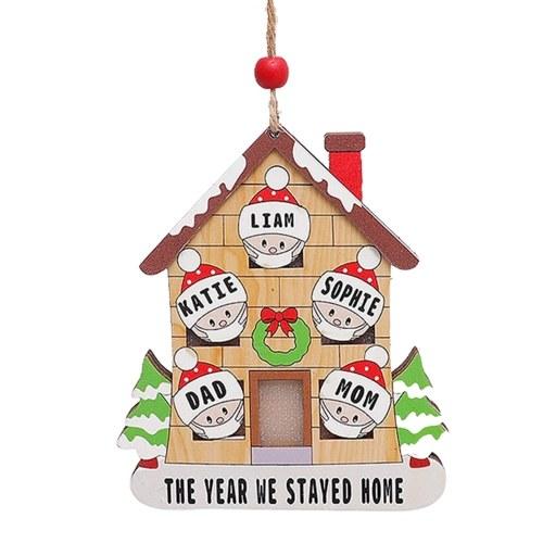 Decoración de árbol de Navidad Adorno de resplandor de casa de madera