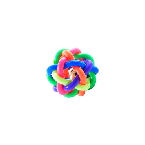 Jouet de boule de cloche tissé doux coloré pour animaux de compagnie