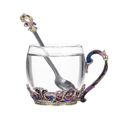 Coffee Chrysanthemum Enamel Craft Water Cup Drink Mug 320ML