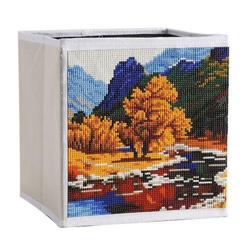 Caja de almacenamiento plegable de pintura de paisaje de diamante DIY