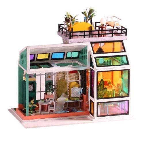 Casa de muñecas en miniatura Kit de casa de bricolaje