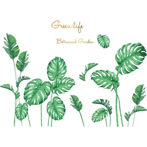 DIY Wall Decals Tropical Monstera Shaped Theme Boys Kids Room Wall Stickers