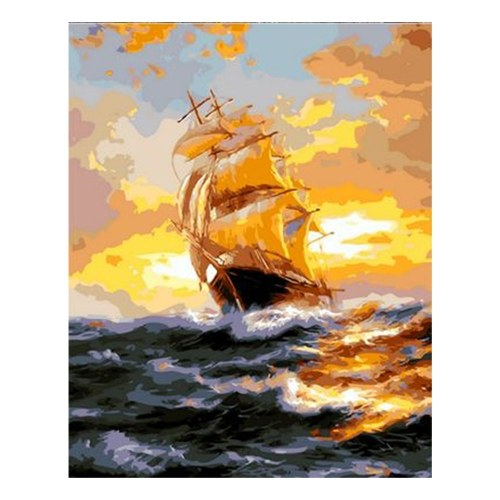 DIY Oil Painting on Canvas Paint by Number Kit Sunset Pattern for Adults Kids Beginner Craft Home Wall Decor Gift