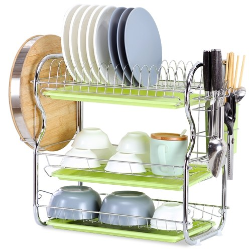 Dish Drying Rack  3 Tier with Chopping Block Holder