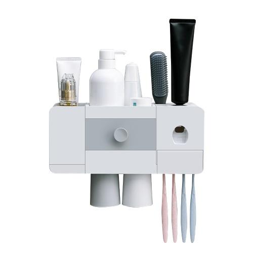 Zahnbürstenregal mit automatischem Zahnpastaspender