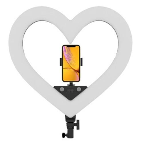 19 pulgadas en forma de corazón RGB Multifuncional Multicolor Live Streaming Maquillaje Luz de relleno Soporte plegable incluido