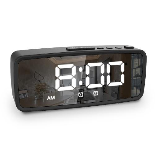Digital Alarm Clock, 5.1'' LED Mirror Display, 3 Levels Dimmer, Dark Mode, Dual Alarms with Snooze, 12/24H, Digital Alarm Clocks for Bedroom Bedside Desk