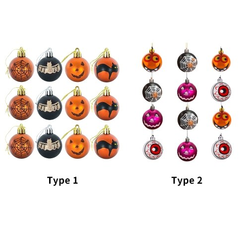 12PCS Halloween Hanging Sign Decorations Halloween Baubles Scary Pattern Halloween Themed Party Haunted House Supplies