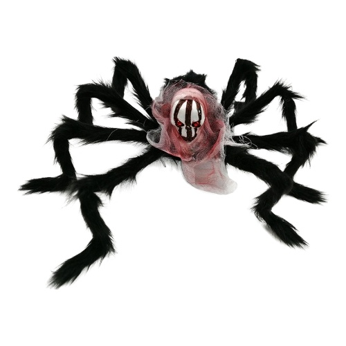 20 X 16 Inch Halloween Giant Spider Scary Creepy Skull Spider Halloween Skeleton Head Spider Realistic Hairy Spider Props for Party Patio Lawn Garden Bar Haunted House Decoration