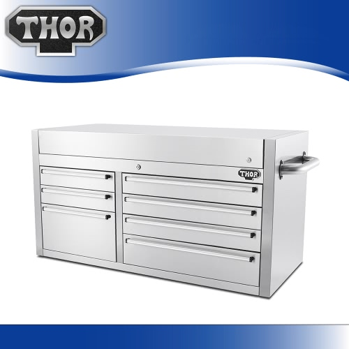 THOR HTC4112W-1 High-end Good Quality Anti-fingerprint Stainless Steel Tool Chests 41 Inch 7 Drawers Tool Box Practical Top Tool Storage Box