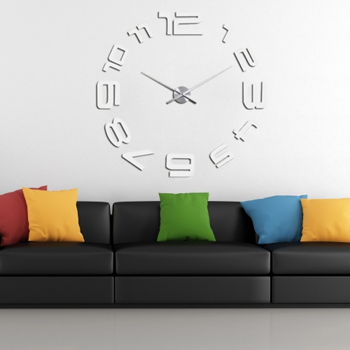 Modern DIY Wall Clock Simple Digits Decor Sticker Set Mirror Effect Acrylic Glass Decal Removable Home Decoration