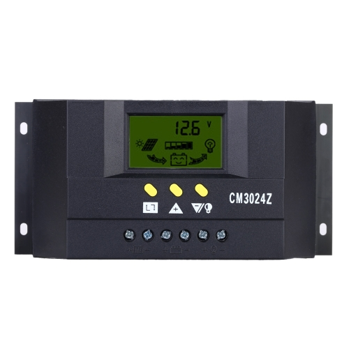 30A 12V/24V Solar Charge Controller PWM Charging LCD Display Auto Regulator Battery System for Street Lighting Temperature Compensation