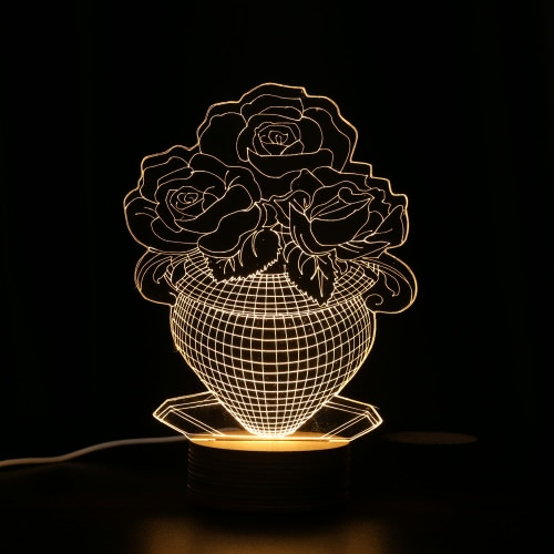 Unique Optical Illusion 3D LED Desk Lamp USB DC 5V Nightlight with Wood Base Lighting Effects Beautiful Gift Decoration