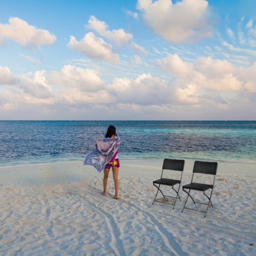 iKayaa 2PCS Portable Outdoor Patio Folding Chair kryty jadalna Garden Party Beach Camping Kuchnia Stolec Patio Meble Testowanie Raport EN581