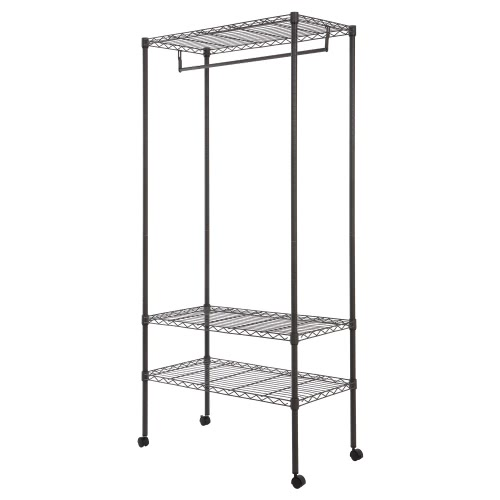 Faible teneur en carbone en acier multi-fonctionnel 3-Tier Garment Rack Top et étagères du bas Roulements Vêtements Rack avec Hanger Bar Sans Fabric Cover
