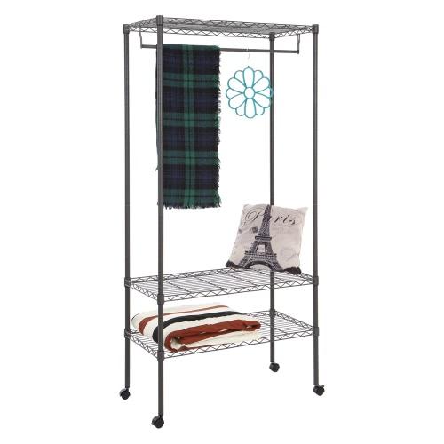 Faible teneur en carbone en acier multi-fonctionnel 3-Tier Garment Rack Top et étagères du bas Roulements Vêtements Rack avec Hanger Bar Sans Fabric Cover