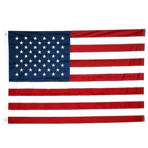 American US Flag 210D Nylon Embroidered Stars and Sewn Stripes USA Banner Flag 5*8ft