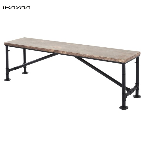 iKayaa Antique Natural Pinewood Top Kitchen Dining Table Bench Chair Metal Frame Patio Outdoor Bench 63*13.7*17.7
