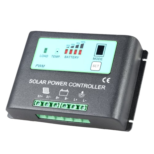 Intelligent 20A 12V/24V Solar Charge Controller Metal Case Auto-ID PWM Regulator Time-Control Solar Power Panel Battery Lamp Light-Control Overload Protection