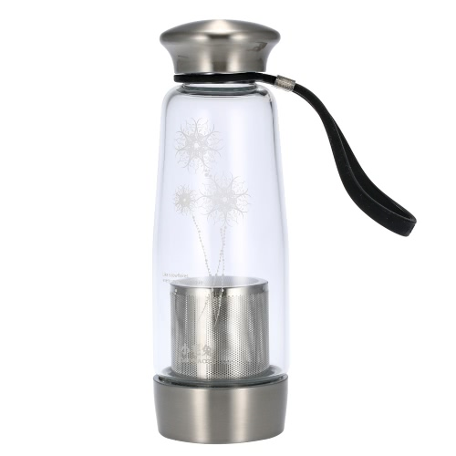 400ml Portable Water Cup Bottle Environmental High Borosilicate Glass Removable Stainless Steel Bottom Filter