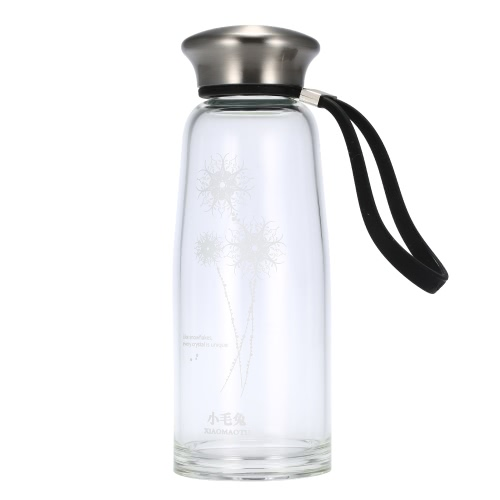 400ml Portable Sport Water Cup Bottle Environmental High Borosilicate Glass Stainless Steel Cover