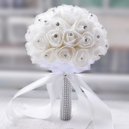 Wedding Bouquet Artificial Rose Bouquets Beautiful White Ivory Bridal Bridesmaid Flower Crystal Rhinestone