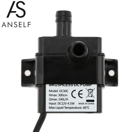 Anself DC12V 4.5W Micro Brushless Water Oil Pump Waterproof Submersible Fountain Aquarium Circulating 240L/H Lift 300cm