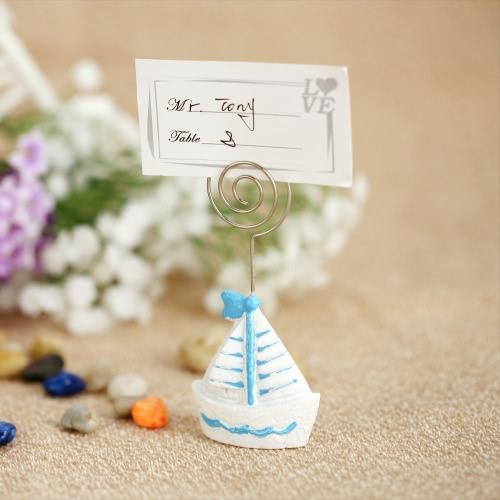 10szt Lovely Mini Statek Żaglowy Boat Place Posiadacze Karty Tabeli Do Kart Dekoracji Weselnych