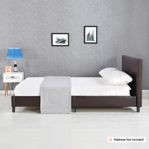 iKayaa Modern Full Sized Upholstered Linen Platform Bed Frames With Wood Slats Wingback Bed Frame Sponge Padded Brown 200KG Capacity for 137*190cm Mattress
