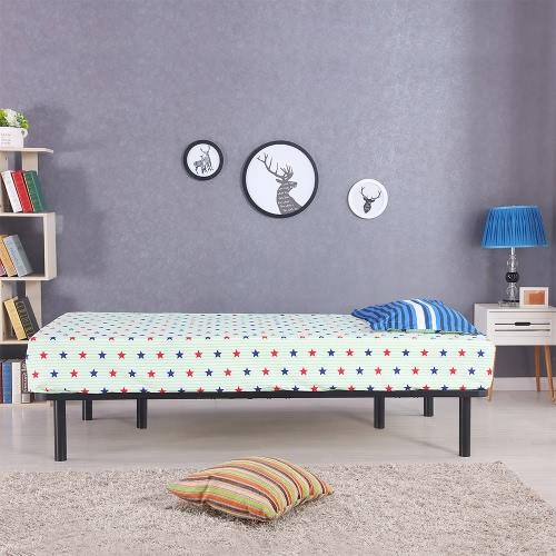 Estructura de cama iKayaa Plataforma de metal con los listones de madera