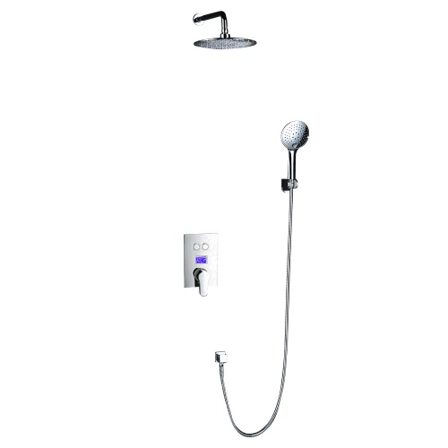 Homgeek Wall Mounted Chrome LCD Digital Temperature Shower Time Display Rainfall Shower Panel Faucet Bathroom Sprayer Set Tap for Hotel Home Handheld Overhead Concealed Installation