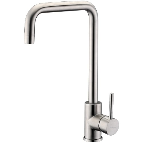 Homgeek Graceful Modern Style High Quality Single Handle Brushed Stainless Steel Bubbler Faucet Mixer Tap for Kitchen Sink