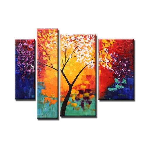 4pcs sin marco pintado a mano moderna pintura al óleo abstracta Conjunto árbol de la vida de la lona pintura de la pared del arte de la decoración de la sala de estar de la decoración